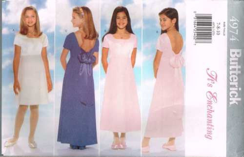 4974 #Butterick Sewing Pattern Girls Childrens Simple Dress 7 8 10