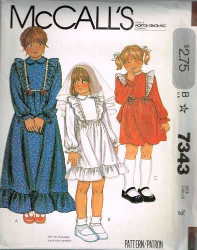 7343 Sewing Pattern Vintage McCall's Girls Dress with Ruffles 3