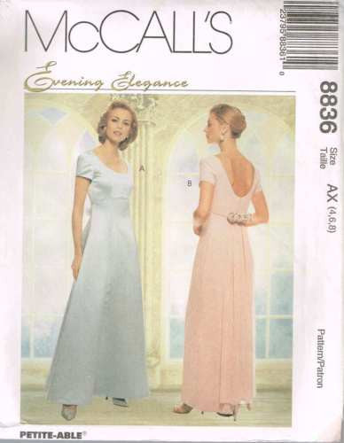 8836 Sewing Pattern McCall's Evening Gown w Detachable Train 4 6 8