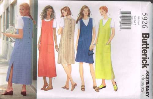 5926 Sewing Pattern Butterick Ladies Button Back Jumper and Top 8 10 12