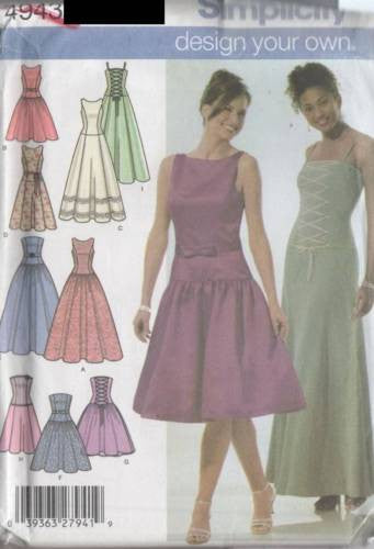 *4943 Sewing Pattern Ladies Bustier Style Dress Wedding Bridal 4 6 8 10