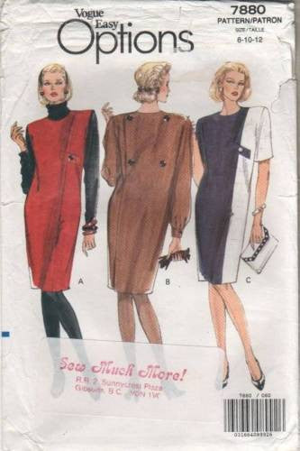 7880 Sewing Pattern Vintage Vogue Color Blocked Asymmetrical Dress 8 10 12