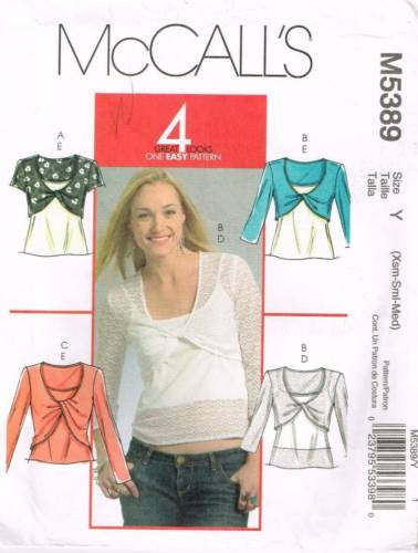 *5389 Sewing Pattern McCall's Ladies Top XS S M