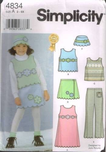 *4834 Sewing Pattern Girls Fleece Jumper Vest Skirt Pants Hat 2 3 4 5 6 6X
