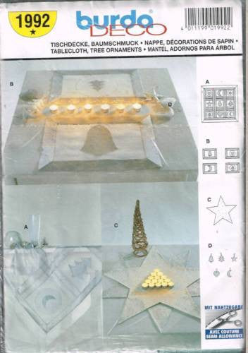 * 1992 Sewing Pattern Burda Quilted Applique Tablecloth and Ornaments for Christmas +