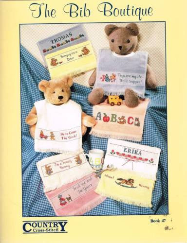 "* 47 Cross Stitch Patterns ""Bib Boutique"" Baby Bib Bibs"