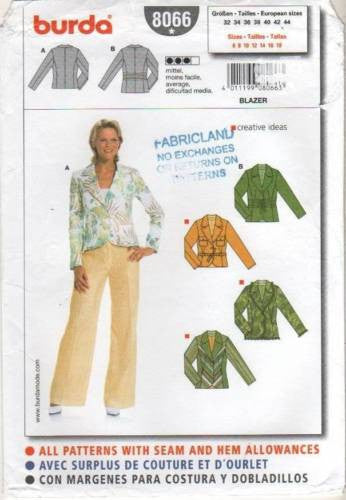 8066 Sewing Pattern Burda Jacket with Variations 6 8 10 12 14 16 18