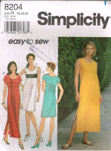 8204 Sewing Pattern Ladies Easy to Sew Dress 10 12 14