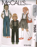 7588 Sewing Pattern Girls Pants and Skirt with Suspenders and Shirt 3