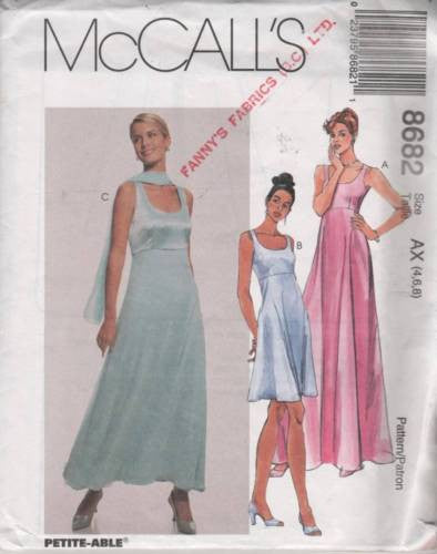 8682 Sewing Pattern McCall's Ladies Wedding Bridal Gown Ballroom Dance 4 6 8