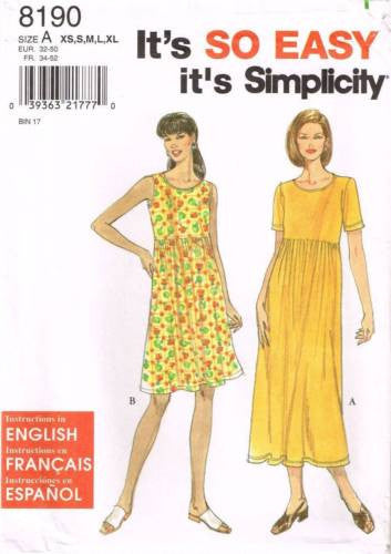8190 Sewing Pattern Ladies Dress XS S M L XL