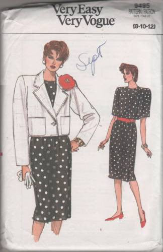 9495 Sewing Pattern Very Easy Vogue Ladies Jacket and Dress 8 10 12