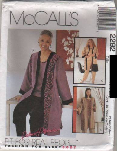 *2292 Sewing Pattern McCall's Plus Size Ladies Palmer Pletsch Jacket Pull on Pant 20-22