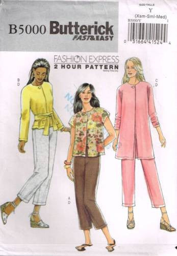 5000 Sewing Pattern Butterick Jacket Sash and Pants XS S M
