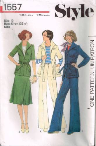 *1557 Sewing Pattern Vintage Style Ladies Jacket and Skirt and Pants 10