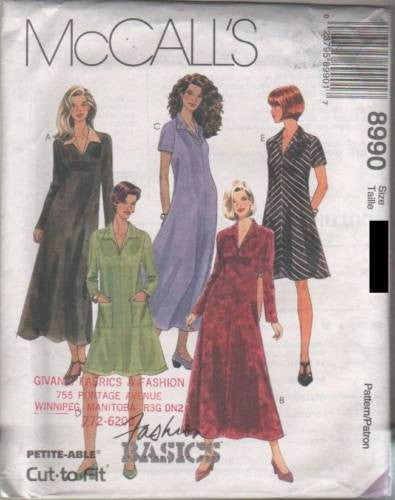 8990 Sewing Pattern McCall's Ladies Dress 6 8 10