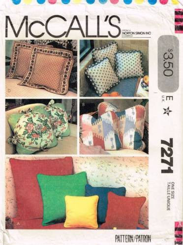 7271 Sewing Pattern McCall's Home Dec Pillow Pillows Cushion