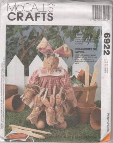 "6922 / 884 Sewing Pattern McCall's Easter Bunny Rabbit Mom 16"" & Babies 5"""
