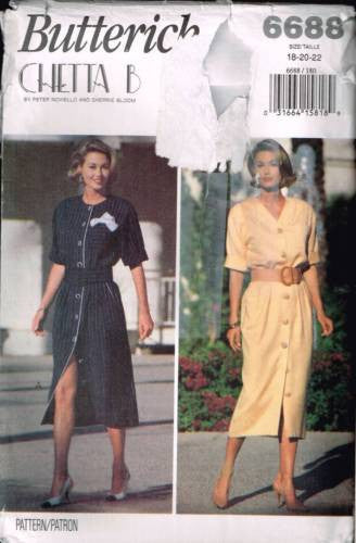 6688 Sewing Pattern Butterick Ladies Button Front Dress 18 20 22
