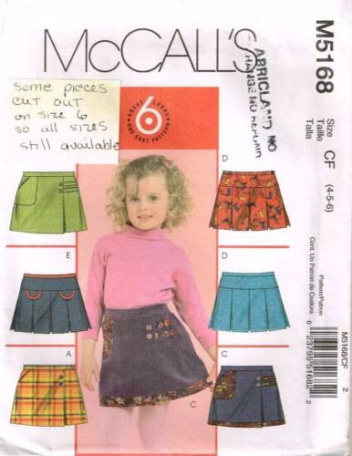 5168 Sewing Pattern Girls Pleated Skirt 4 5 6 *CUT OUT