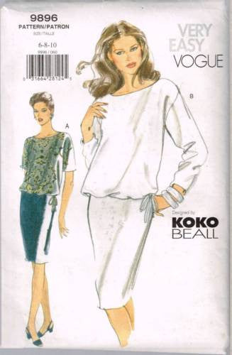 9896 Sewing Pattern Vogue Ladies Top and Skirt 6 8 10