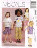 *2705 *Sewing Pattern McCall's Girls Shirt Pants and Shorts 4 5 6