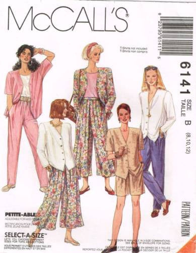 6141 Sewing Pattern McCall's Culottes Jacket Pants Shorts 14 16 18