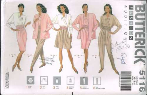 5116 Sewing Pattern Butterick Ladies Blouse Pants Shorts Jacket XS S M