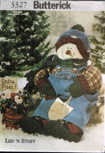 "3327 Pattern Butterick Lv 'N Stuff Snowman 22"" with Clothes & Snowballs"