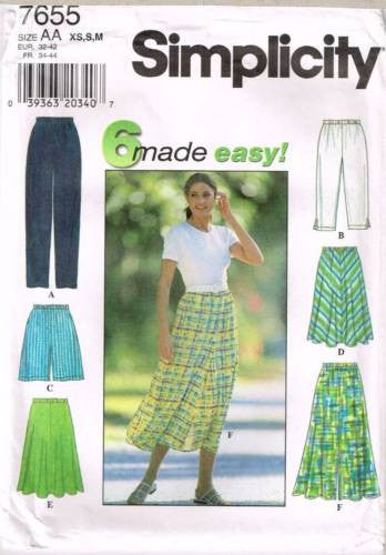 7655 Sewing Pattern Ladies Casual Skirt Pants Shorts XS S M