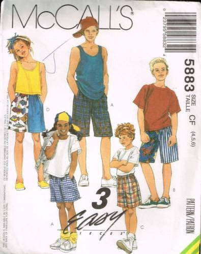 *5883 Sewing Pattern McCall's Kids Unisex Shorts 4 5 6