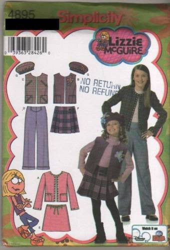 4895 Sewing Pattern Girls Pleated Skirt Tam Vest Jacket 7 8 10 12 14
