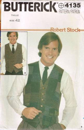 "4135 Sewing Pattern Mens ""Robert Stock"" 5 Button Vest Chest 42"