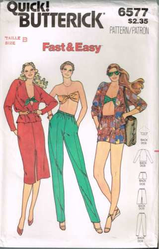 6577 Sewing Pattern Vintage Butterick Ladies Skirt Pants Bandeau Jacket 8 10 12