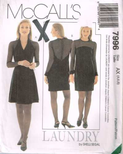 "7996 Sewing Pattern McCall's ""Laundry"" by Shelli Segal Dress 4 6 8"