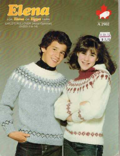 2902 Elena Knitting Pattern Child's Pullover (Hooded Optional) Fair Isle 2 4 6 8