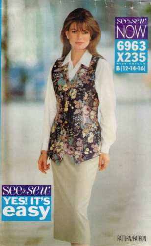 6963 Sewing Pattern Ladies Princess Seam Vest and Skirt 12 14 16
