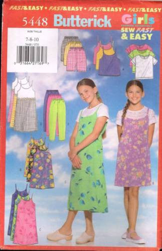 5448 Sewing Pattern Girls Slip Dress Camisole Pants Shorts 7 8 10