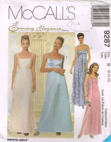 9287 Sewing Pattern McCall's Wedding Bridal Strappy Slip Dress 8 10 12