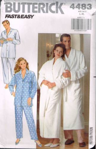 4483 Sewing Pattern Vintage Butterick Unisex Pajamas Shawl Collar Robe L XL