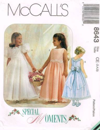 "8643 Sewing Pattern Girls  ""Special Moments"" Dress Gown w Bow 3 4 5"