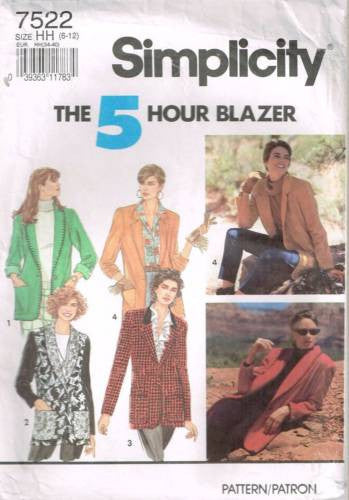 7522 Sewing Pattern Ladies 5 Hour Blazer Jacket 6 8 10 12