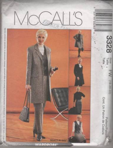 3328 Sewing Pattern Ladies Coat Jacket Vest Pants Skirt 18 20 22