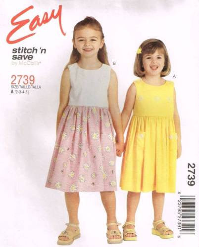 *2739 Sewing Pattern McCall's Girls Summer Dress 2-3-4-5 or 5-6-7-8