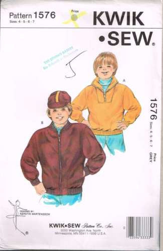 K1576 Sewing Pattern Kwik Sew Vintage Boys Sweatshirt Jacket 4 5 6 7