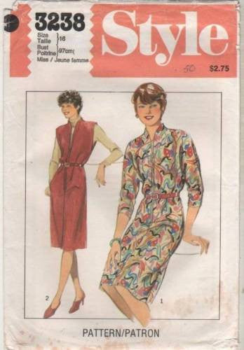 *3238 Sewing Pattern Vintage Style Ladies Zipper Front Dress 16