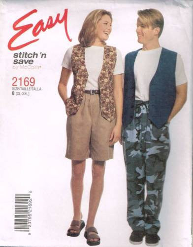 *2169 Sewing Pattern McCall's Unisex Pants Shorts Vest XL-XXL