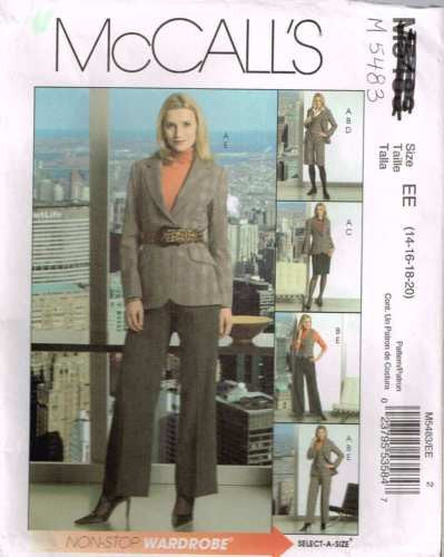 *5483 Sewing Pattern McCall's Ladies Jacket Pants Vest Shorts 14 16 18 20