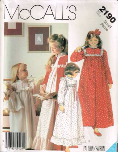 *2190 Sew Pattern Girls Nightgown & Robe w Yoke includes Doll Nightgown S 4-6