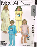 7730 Sewing Pattern McCall's Girls Pajamas Nightgown w Raggedy Ann Transfers 4-6